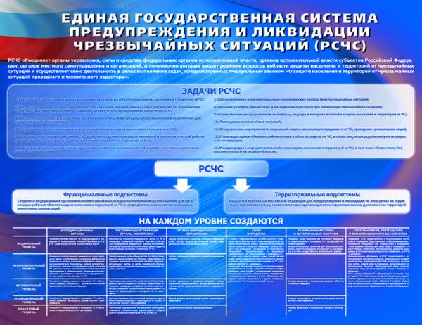 "Стенд ""Единая государственная система предупреждения и ликвидации ЧС"""