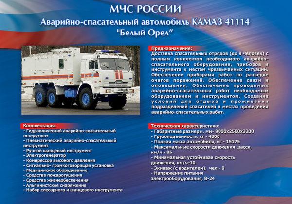 """Стенд """"Аварийно-спасательный автомобиль КАМАЗ 41114 (Белый орел)"""""""