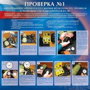 """Стенд """"Проверка №1 дыхательного аппарата со сжатым воздухом ПТС ПРОФИ-М  с помощью системы контроля КУ-9В"""""""